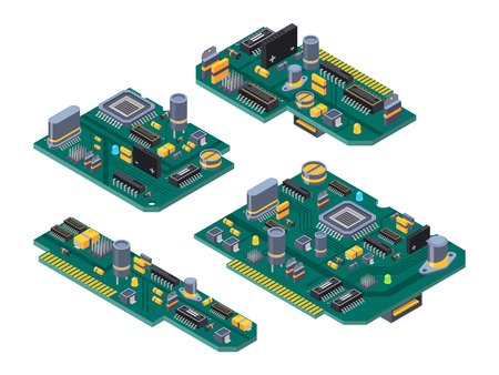 Different computer boards with semiconductors, capacitor and chips