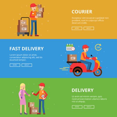 Horizontal banners set. Delivery service people