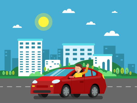 Red car on the road in urban landscape. Vector illustration in flat style