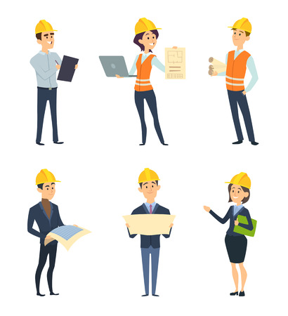 Industrial workers. Male and female architect and engineering. Vector worker construction, female and male engineering and builder character illustration Vettoriali