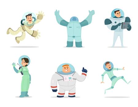 Space characters. Mascots of astronauts in cartoon style. Astronaut character and spaceman cartoon, cosmonaut cosmic explorer, vector illustration