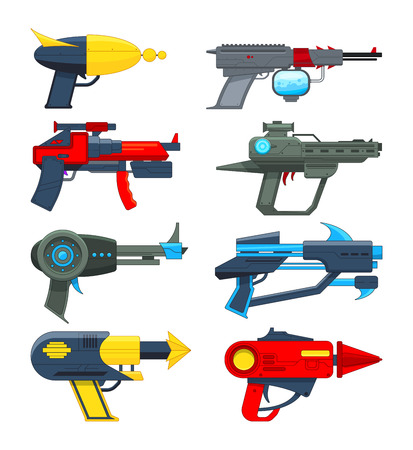 Different futuristic weapons. Shooting guns for video games. Gun pistol, weapon handgun futuristic lazer, vector illustration