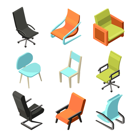 Office furniture. Different chairs and armchairs from leather. Isometric pictures office seat chair, furniture modern and comfortable. Vector illustration Illustration
