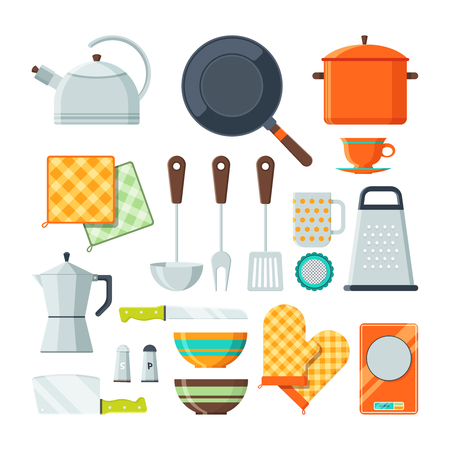 Kitchen tools for cooking. Vector cartoon illustrations isolate.