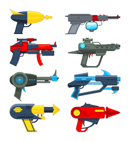 Different futuristic weapons. Shooting guns for video games. Gun pistol, weapon handgun futuristic lazer, vector illustration.