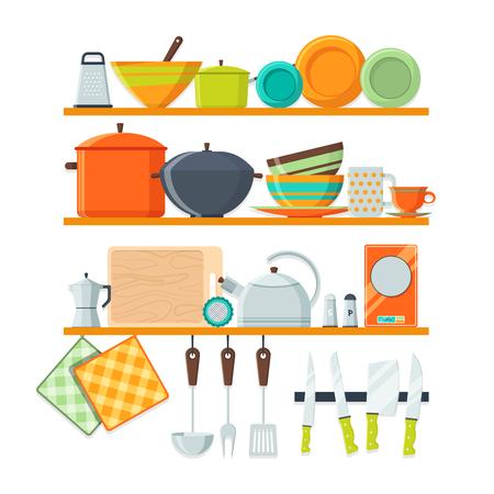 Kitchen tools and restaurant equipment on shelves Illustration