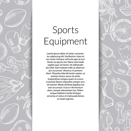Vector banner and poster with hand drawn sports equipment background illustration