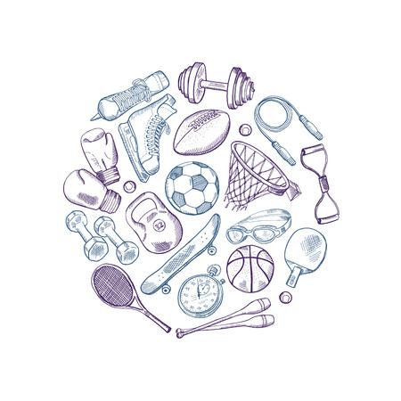 Vector hand drawn sports equipment elements circle concept illustration