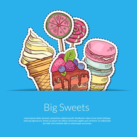 Vector hand drawn sweets in pocket illustration with place for text. Ice cream and cake