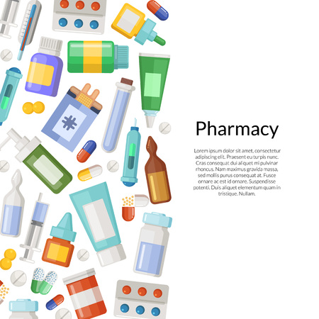 Vector medicines, pills and potions background with place for text illustration
