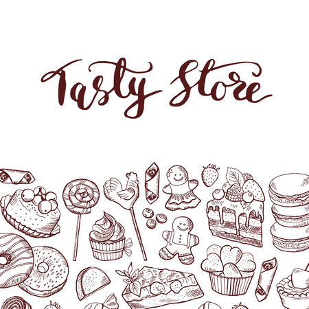 Vector hand drawn contoured sweets shop or confectionary background with lettering illustration
