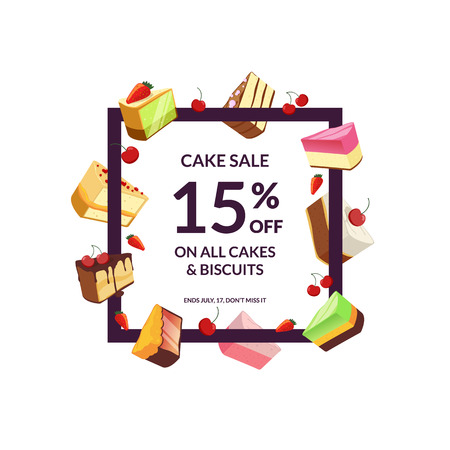 Vector frame with place for text and cartoon pieces of cake sale illustration