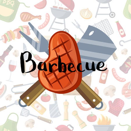 Vector illustration with fried meat, knive and fork with lettering on barbecue or grill elements background