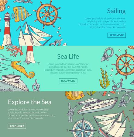 Vector sketched sea horizontal banner poster of set templates illustration