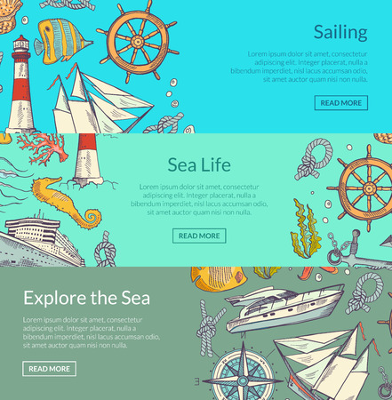 Vector sketched sea horizontal banner poster of set templates illustration