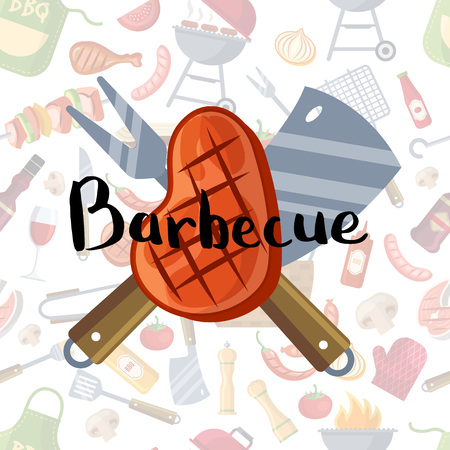 Fried meat, knives and fork with lettering on barbecue or grill elements background Illustration