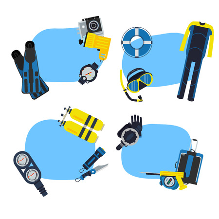 Vector underwater diving stickers with place for text set illustration
