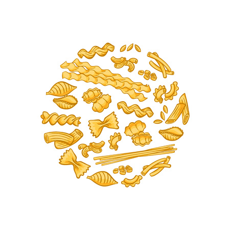 Vector cartoon pasta types circle flame badge and label concept illustration
