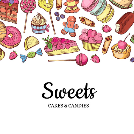 Vector hand drawn colored sweets shop or confectionery background Vectores