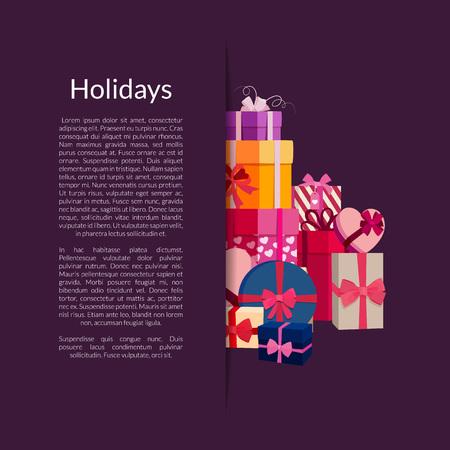Vector gift boxes or packages pile Illusztráció