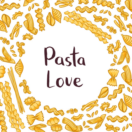 Vector pasta elements background illustration with plain space for text in center. Italian pasta design, macaroni and spaghetti Illustration