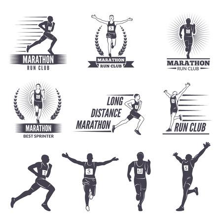주자를위한 로고 또는 레이블. Marathon 그래픽
