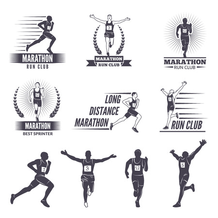 Logos or labels for runners. Marathon graphics