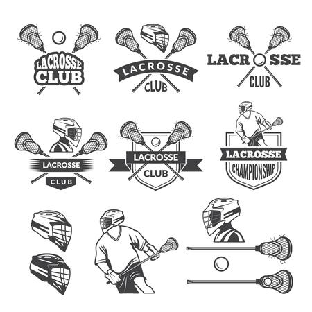 Labels of lacrosse club. Vector monochrome pictures set Vettoriali