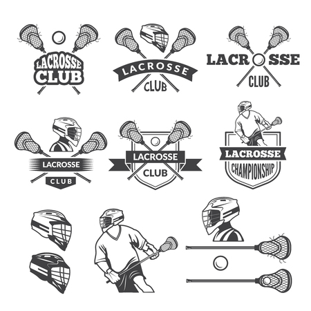 Labels of lacrosse club. Vector monochrome pictures set Stock Illustratie