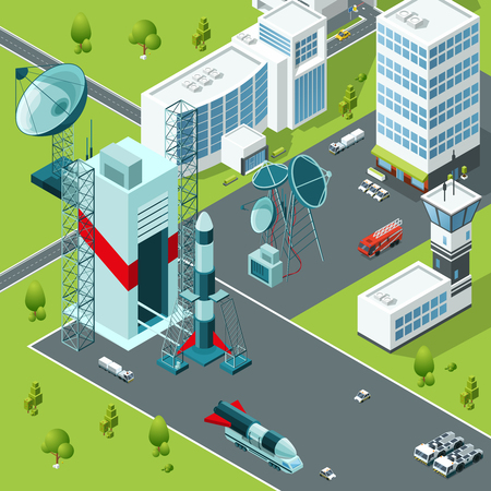 Launch pad of the spaceport. Isometric buildings and rocket launch, spaceship and shuttle. Vector illustration 免版税图像 - 94821694