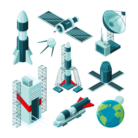 Isometric pictures of different tools and constructions for space center. Shuttle station and rocket satellite, spaceship technology. Vector illustration
