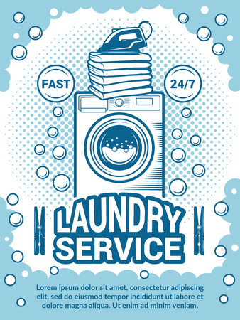Retro poster for dry cleaning. Advertisement design template with place for your text. Laundry service, wash machine equipment illustration Vettoriali