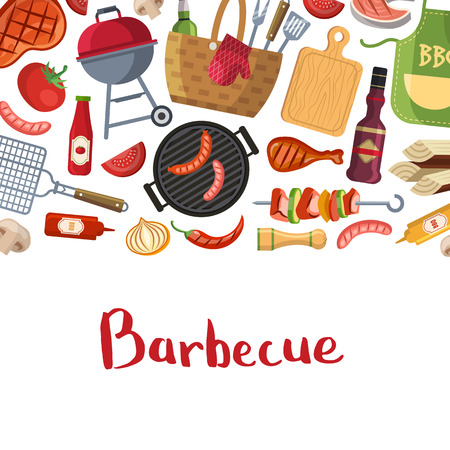 Barbecue or grill cooking with place for text