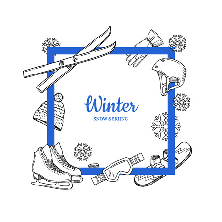 Vector frame with place for text hand drawn winter sports Illustration