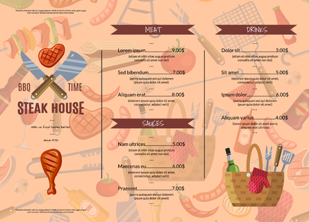 vector barbecue grill or steak house horizontal menu template