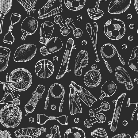 Vector hand drawn sports equipment pattern or chalkboard background monochrome illustration Ilustração