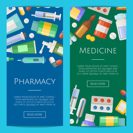 Vector pharmacy or medicines vertical banner templates