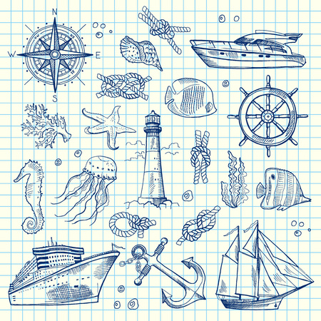 Vector sketched sea elements on notebook cell sheet.