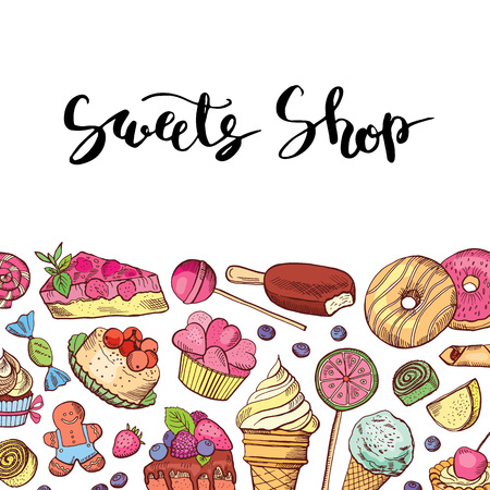 Vector hand drawn colored sweets shop or confectionary. 일러스트