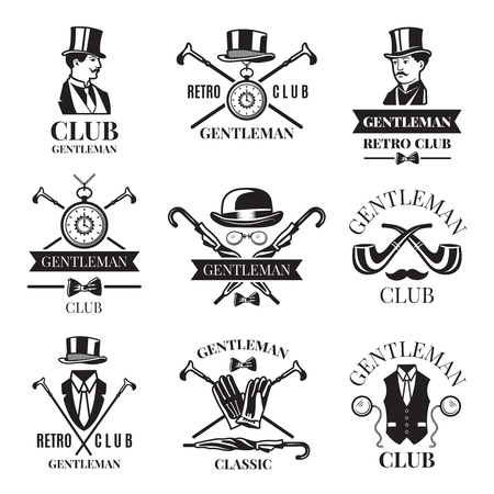 Retro badges or labels set for gentleman club. Logos design template with place for your text Illustration
