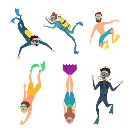 水中ダイバーの漫画キャラクターのセット