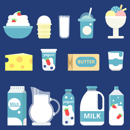Illustrations of milk products. Cream, yogurt and cheese Ilustração