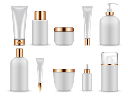 Plastic white blank bottles and tubes for cosmetics. Bottle and tube container cosmetic, cream beauty gel. Vector illustration