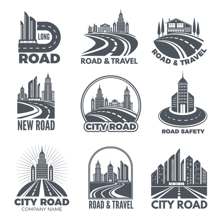 Logo designs with illustrations of roads and buildings. Vector road and travel, modern highway logo