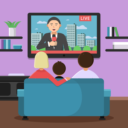 Family couple sitting on sofa and watching news at tv. Vector family sitting and watch news illustration Çizim