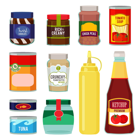 Illustrations of canned goods. Conservation of tomato, fish, vegetables and other foods. Vector food goods and conserve tomato soup