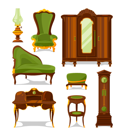 Antique furniture in cartoon style. Vector illustrations isolated Illustration
