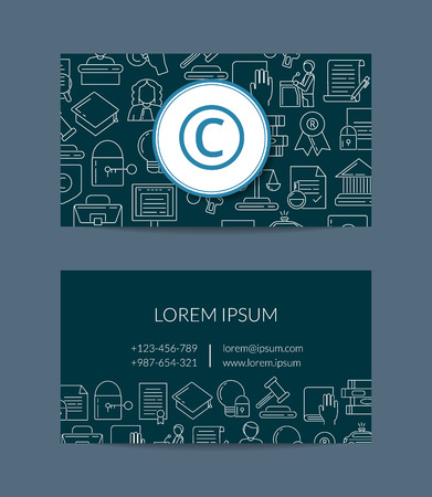 Vector linear style copyright business card Vectores