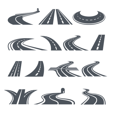 Stylized symbols of road and highway. Pictures for icon design.