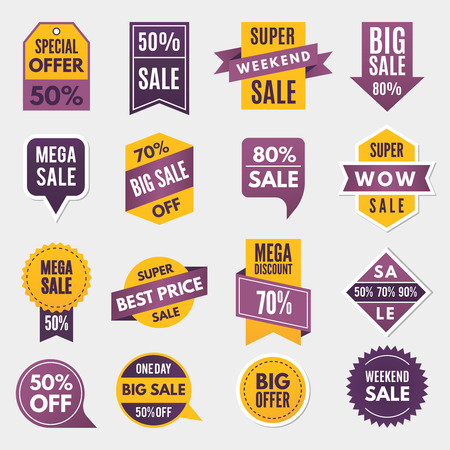 Labels and tags with advertising info for promotion and big sales.